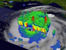 Hurricane Katrina cloud and rainfall data chart