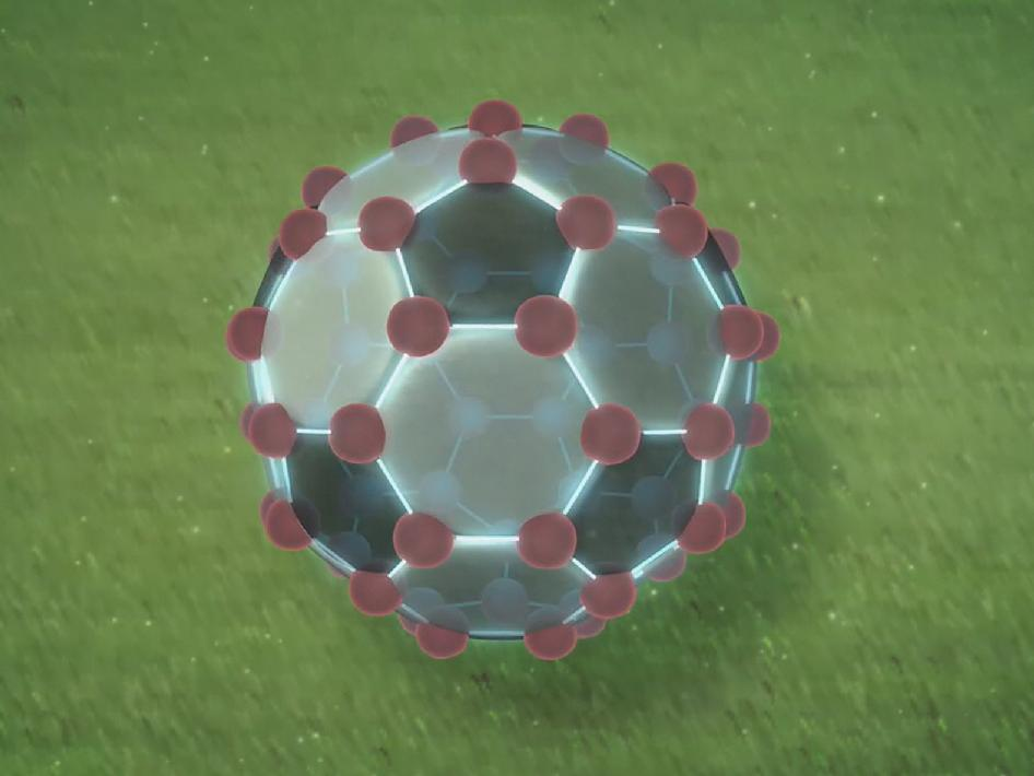 Animation showing how buckyballs resemble soccer balls