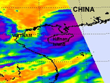 Chanthu's center as it was approaching China on July 21 at 17:53 UTC (1:53 p.m. EDT); that area shifted to the south after landfall.