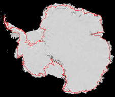 Antarctica, with grounding lines illustrated in red