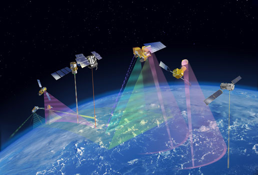 This artist's concept shows how CALIPSO and CloudSat will fly in formation with other Earth Observing Satellites