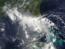 NASA's Aqua satellite provided a very clear image of Tropical Storm Bonnie as it was moving into the Gulf of Mexico.