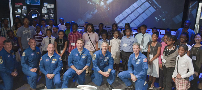 STS-132 crew members and students at the National Air and Space Museum. Credit: NASA/Paul Alers