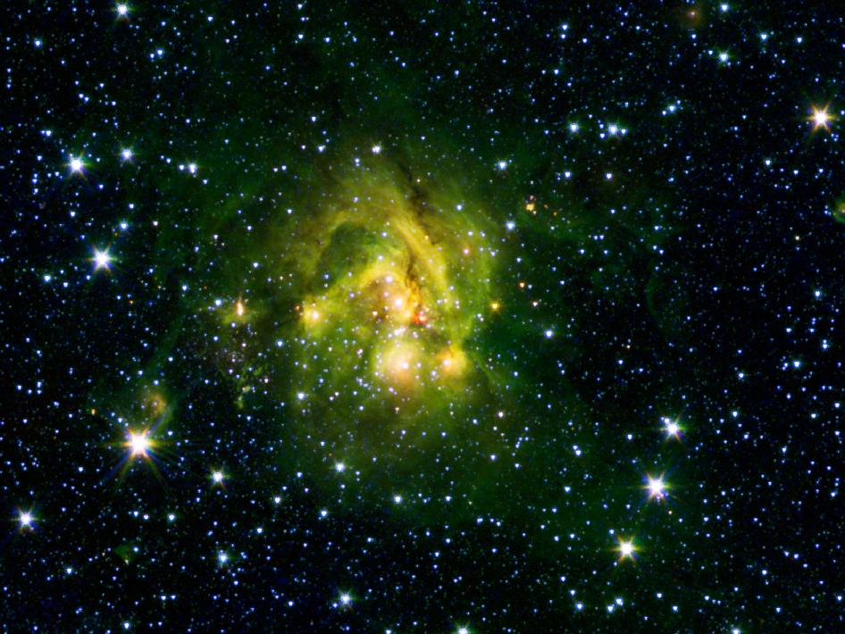 An outflow of gas from a new star