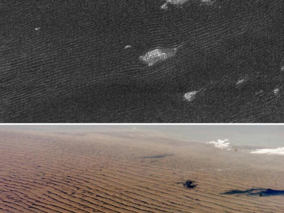 Dune ridges on Saturn's moon Titan and on Earth
