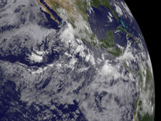 A small area of clouds (far right)  and showers in the Eastern Pacific, a couple hundred miles south of Guatemala.