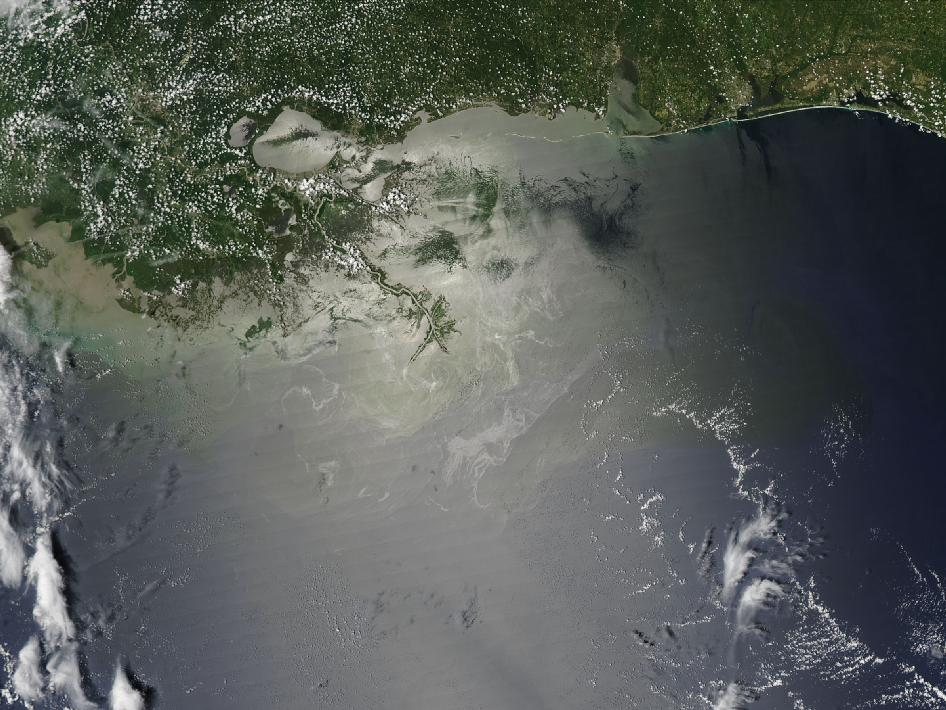 Oil spill image from July 28, 2010.