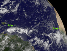 Area #1 over the southeastern Caribbean Sea and Area #2 far to the east, just off the African coast.