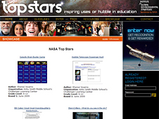 Screenshot of the Hubble Top Stars Showcase website