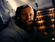 Astronaut Neil A. Armstrong in the Lunar Module.