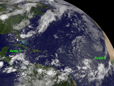 The waning low near Central America (left) and the strengthening low in the eastern Atlantic (right).