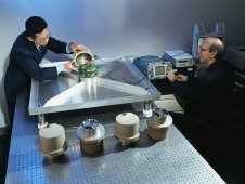 Dr. Richard Blakeslee, right, and Tony Kim, left, of the Marshall Center test the electric field mills used to measure lightning produced by thunderstorms.