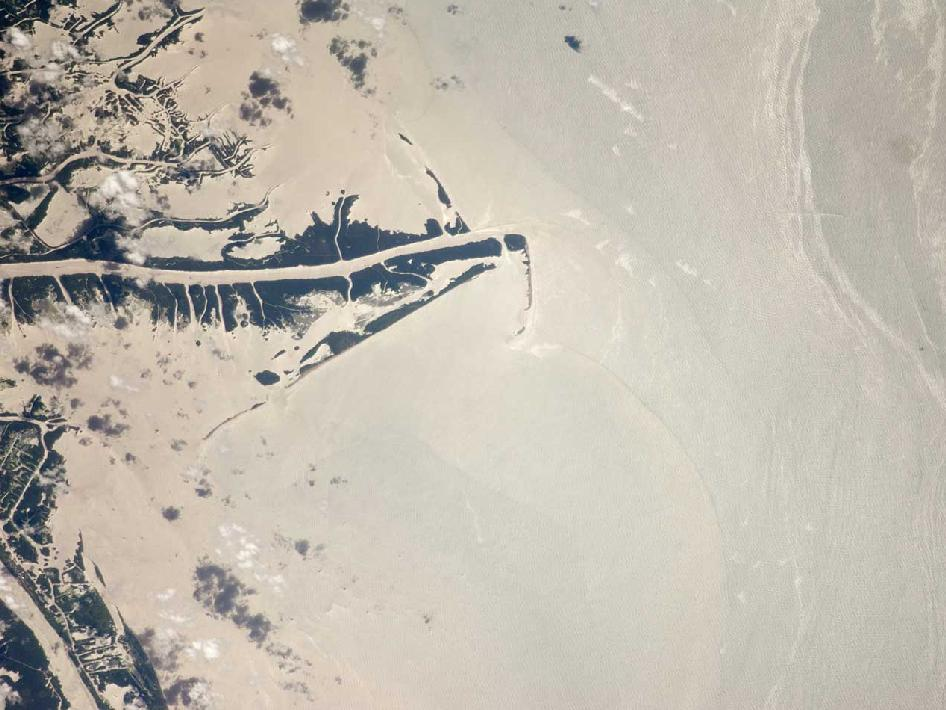 Oil spill seen from the International Space Station in late July 2010.
