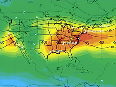Satellite measurements of ozone distribution in the lower atmosphere over the U.S.