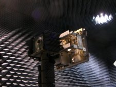 HIRAD is mounted for testing in an anechoic chamber.