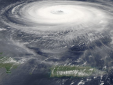 Hurricanes Isabel in 2003, as captured on Sept. 14, 2003 by the Moderate Resolution Imaging Spectroradiometer (MODIS) instrument onboard NASA's Aqua satellite.