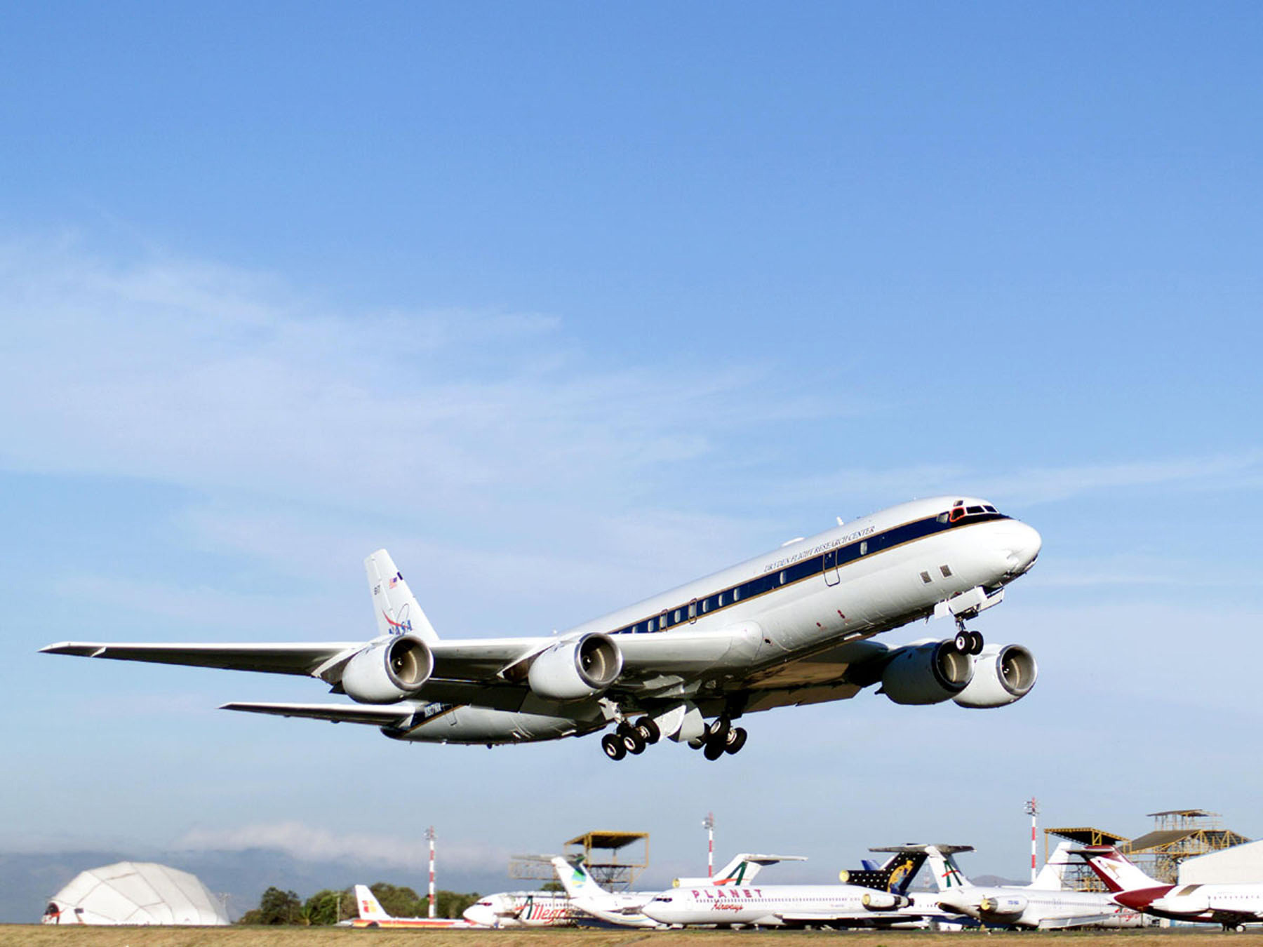 NASA - NASA's DC-8 Flying laboratory Takes off From Juan