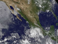 The GOES-11 satellite captured a visible image of Tropical Depression 7E off the western Mexico coast on August 6.