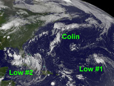 The stretched out remnants of Colin (center).