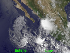 Estelle appears as a small swirl of clouds in the far left of the image, while the low is associated with all of the clouds behind it.