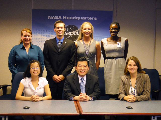 Pictured left to right (front row): Mo Nguyen, mechanical engineering major at Boise State University; Jaiwon Shin, associate administrator for NASA Aeronautics Research Mission Directorate; Jennifer Hunt, aerospace engineering major at University of Alabama. (back row): Christie Funk, aerospace engineering graduate student from Old Dominion University; Mackenzie Sinden-Redding, engineering physics graduate student at the University of Virginia; Bailee Ireland, electrical engineering major at the University of Virginia; Tayo Ladeinde, aerospace engineering doctoral student at New York University.