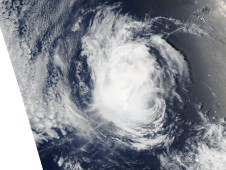 MODIS Image captured on August 8, when Estelle was a robust tropical storm and appeared as a compact mass of clouds.