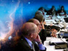 image of nebula & people at a conference table