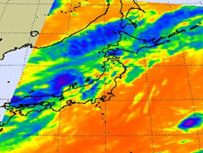 Dianmu's elongated center in the Sea of Japan, with most of the convection (blue, purple) to the eastern part of the storm.