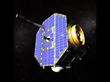 Screen capture from animation showing IBEX spacecraft.