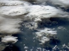 This image over Southern Brazil, taken from space in 1984, shows a mixture of cold and warm clouds.