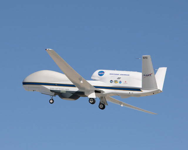 NASA's Global Hawk takes off Aug. 15 for a functional check flight of the aircraft payload system and science instruments.