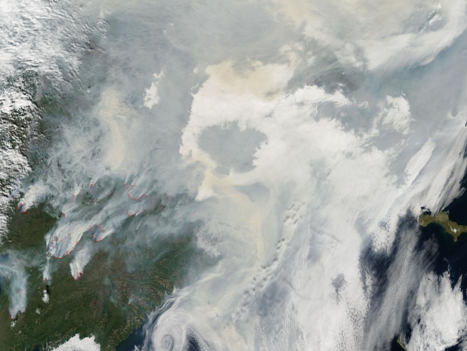 Fires burned across eastern Siberia north of the Kamchatka Peninsula throughout July 2010.