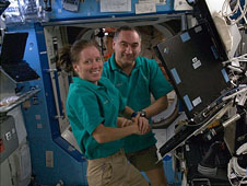 ISS024-E-011619 -- Russian cosmonaut Alexander Skvortsov and NASA astronaut Shannon Walker