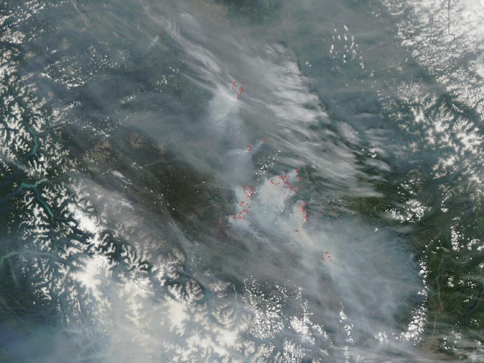 Scores of large forest fires burned throughout British Columbia, Canada, in late July and early August 2010.