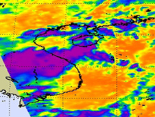 The AIRS instrument on NASA's Aqua satellite captured an infrared image of System 93W's cold clouds on August 20 at 0530 UTC (1:30 a.m.EDT).