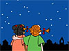 Cartoon of two girls looking at the night sky
