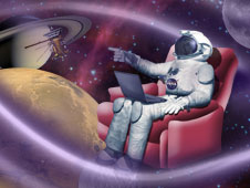Artist concept of an astronaut sitting in a chair and floating in space.
