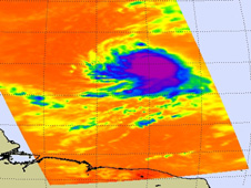This infrared image of Danielle's clouds from NASA's Aqua satellite shows a tightly compact cyclone.