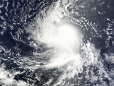 This image MODIS shows a compact, rounded tropical storm Danielle.
