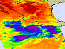 This AIRS image from August 24 shows that Frank has moved away from the southwestern Mexico coastline.