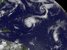 Satellite image of storms Danielle and Earl