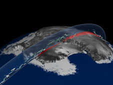 ICESat data swath over Antarctica showing ice sheet elevation and clouds.