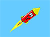 Cartoon rocket with happy face
