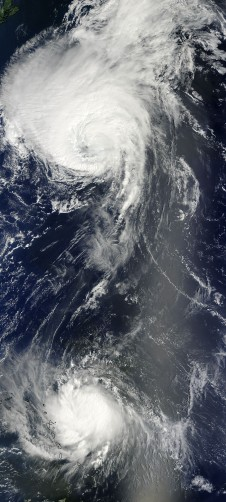 MODIS captured this visible image of hurricanes Danielle (top) and Earl (bottom)  in the Atlantic Ocean.