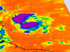 Fiona's cold cloud tops with the strongest convection (purple) in the northern and southern areas around the center of circulation.