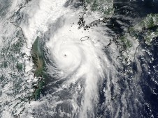 A NASA MODIS visible image of Kompasu on Sept. 1 showed that the eye was being filled in by high clouds.
