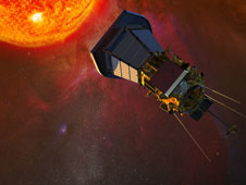 The Solar Probe Plus spacecraft with solar panels folded into the shadows of its protective shield, gathers data on its approach to the Sun.