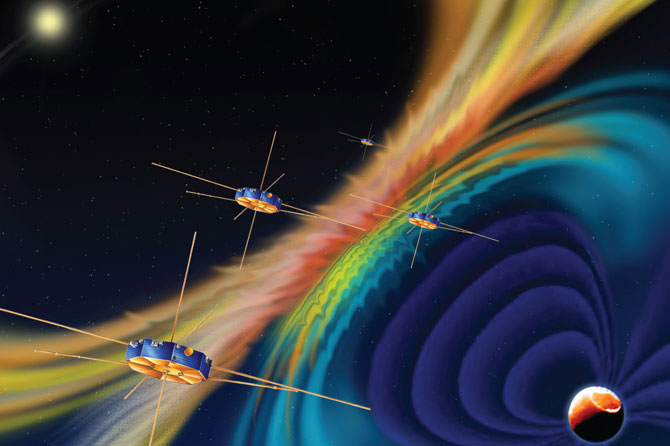 Artist conception of the four MMS spacecraft investigating magnetic reconnection within Earth's magnetic field (magnetosphere).