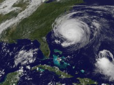 Hurricane Earl nearing North Carolina's coast is located on the left (in the larger image), the much smaller Fiona is located on the lower right.