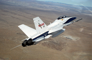 NASA's F/A-18 in flight